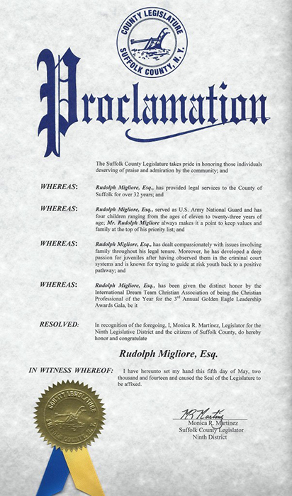 Proclamation Suffolk County Legislature Honoring Rudlolph Migliore